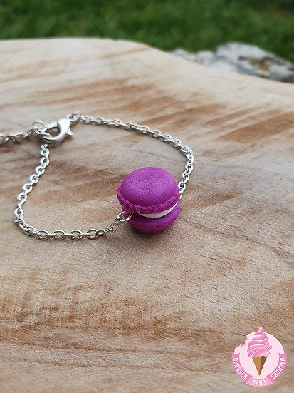 Bracelet macaron violet reflet paillettes