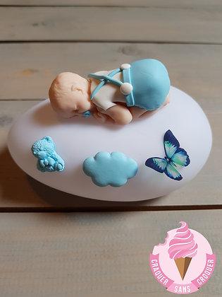 Veilleuse bébé garçon bleu pastel