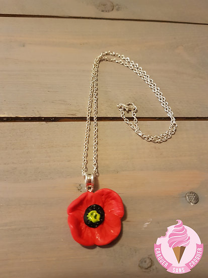 Collier coquelicot rouge
