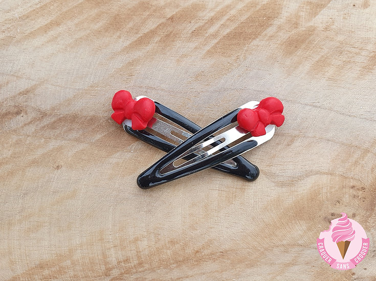 Barrettes nœud rouge