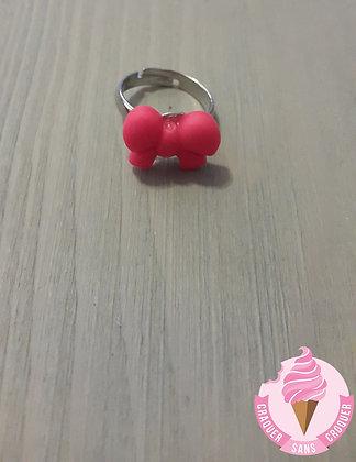 Bague mini nœud rose fluo [Enfant]