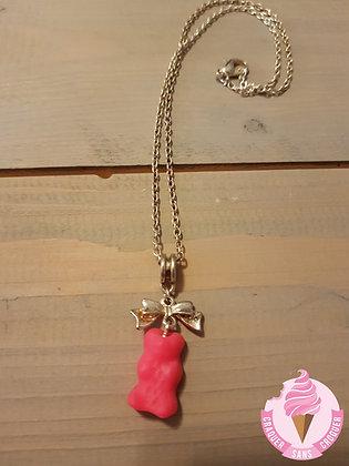 Collier bonbon ourson rose fluo