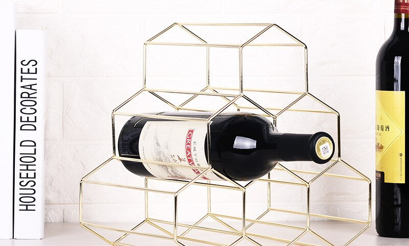 6 Bottle Gold Grape Wine Rack