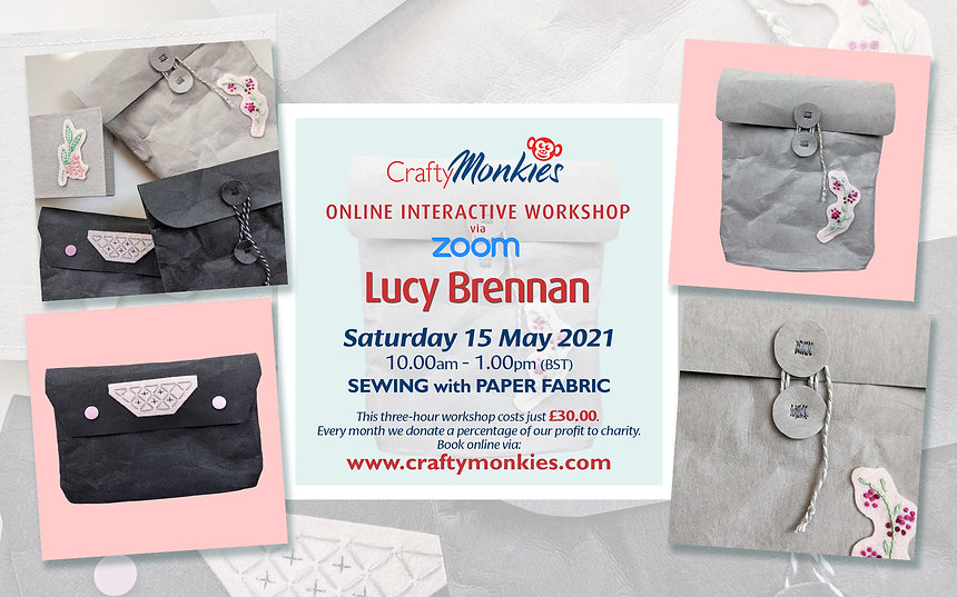 CraftyMonkies Lucy Brennan Online Interactive Workshop Sewing With Paper Fabric