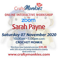 Online Interactive Workshop Class Sarah Payne Crochet Monkey