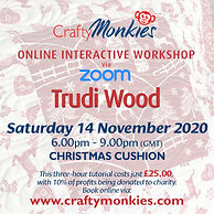 CraftyMonkies Trudi Wood Sewing & Quilting Festive Rudolph Advent Calendar Online Interactive Zoom Workshops Courses Classes