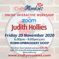 Online Interactive Workshop Class Judith Hollis Robin Embroidery Hoop