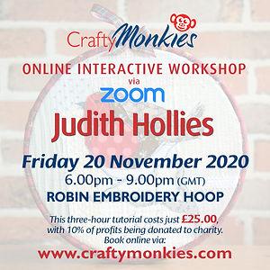 CraftyMonkies Online Interactive Workshop Class Course Judith Hollies Robin Embroidery Hoop