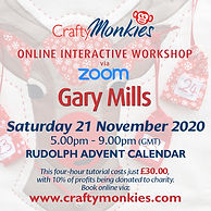 CraftyMonkies Gary Mills Sewing & Quilting Festive Rudolph Advent Calendar Online Interactive Zoom Workshops Courses Classes