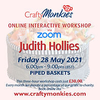 CraftyMonkies Judith Hollies Online Interactive Workshop via Zoom Sewing With Piped Baskets!