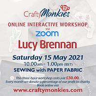 CraftyMonkies Lucy Brennan Online Interactive Workshop via Zoom Sewing With Paper Fabric!