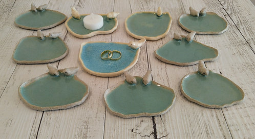 Ceramic birds on a Lake Saucer by Miller's Pottery