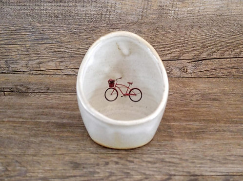 Handmade ceramic spoon rest with bicycle by Miller's Pottery Australia