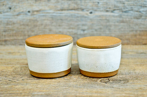Handmade ceramic Salt & Pepper pinch pots by Miller's Pottery Australia