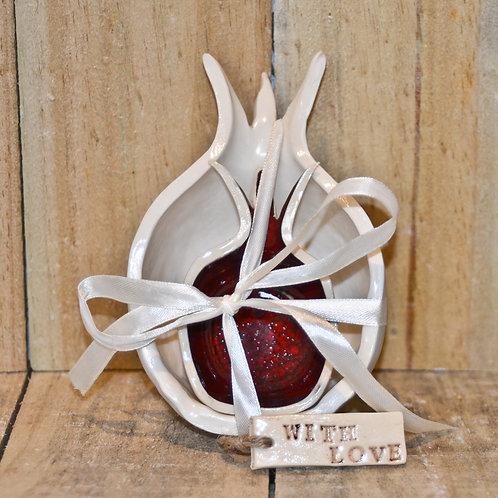 Handmade ceramic pomegranate set for honey and apples