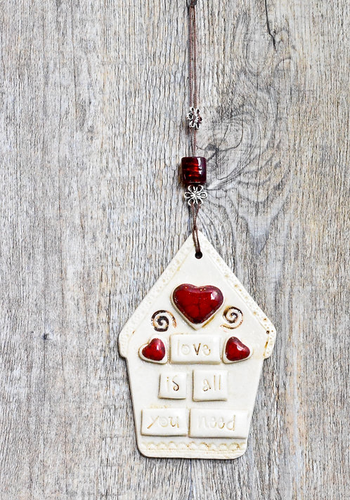 handmade ceramic wall hanging house by Miller's Pottery