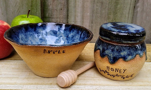 handmade ceramic apple and honey set