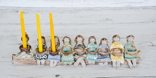 handmade Hanukkah Menorah by Miller's Pottery Australia