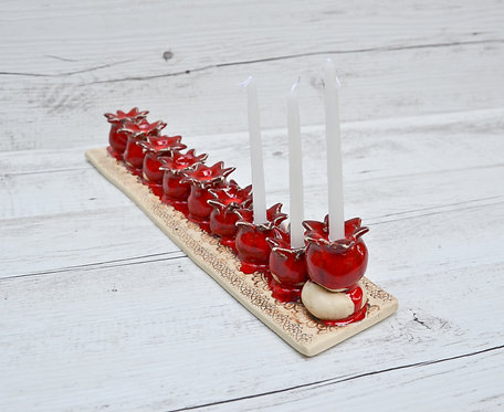 Handmade Pomegranates Hanukkah Menorah by Miller's Pottery Australia