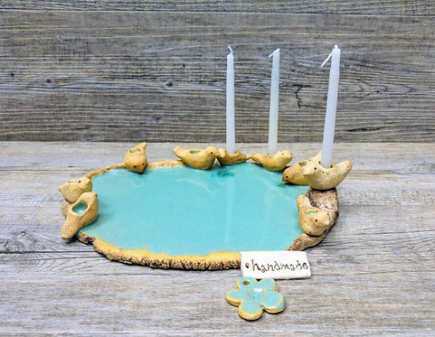 Handmade birds hanukkah menorah