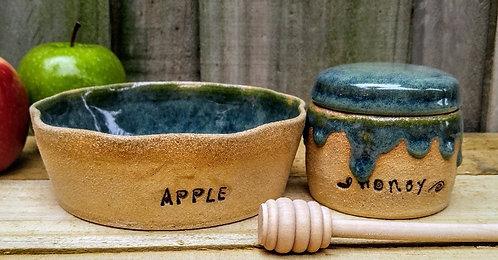 handmade ceramic apple and honey set