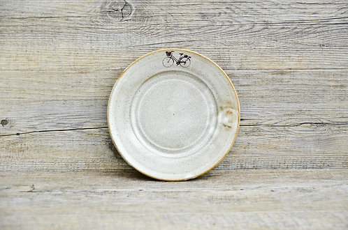 handmade ceramic plate with bicycle decal by Miller's Pottery Australia