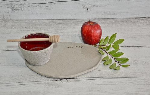 Ceramic Apple and Honey set for Rosh Hashana by Miller's Pottery Australia