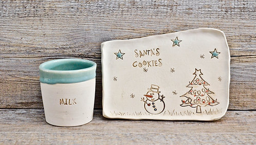 Handmade ceramic Christmas Santa's Milk and Cookies gift sets by Miller's Pottery Australia