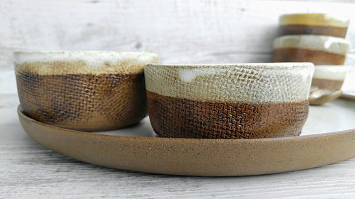 Serving Plate with Rustic Jute Bowls