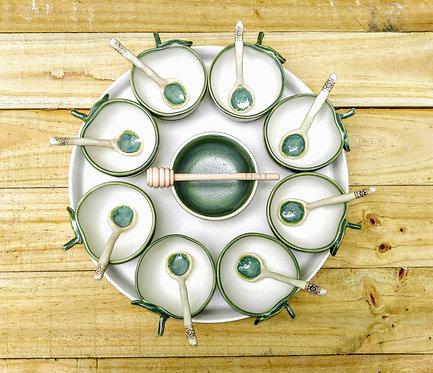 Handmade ceramic rosh hashanah plate by Miller's Pottery Australia