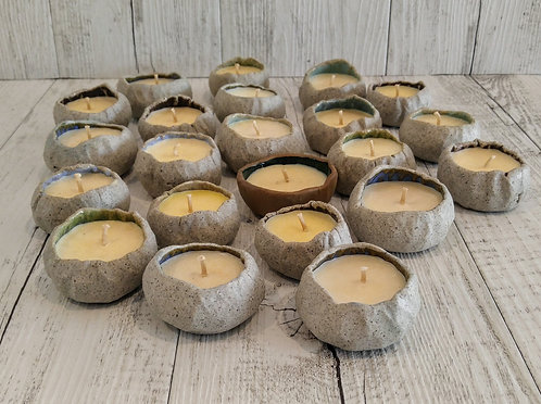 ceramic pinch pot candles by Miller's Pottery