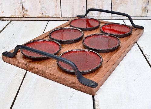 wood iron and ceramics serving set
