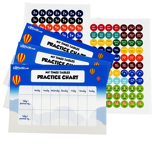 Times Tables Practice Chart with 144 Stickers