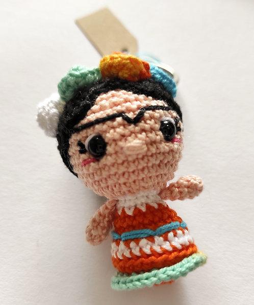 Porta-chaves em crochet - Frida Kahlo