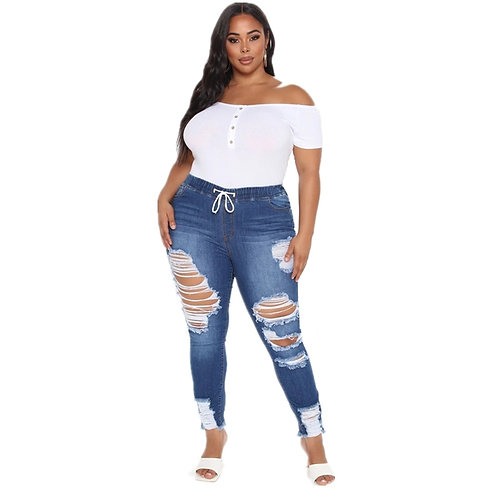 Distressed Jean for Women Scratched Ripped Jeans Stretch Waist Plus Size Jeans