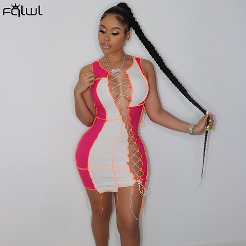 FQLWL Summer Sexy Club Outfit Party Dresses Women Sleeveless Bodycon Elastic Min