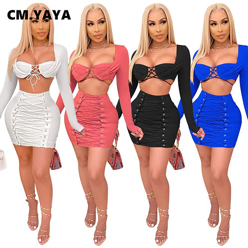 CM.YAYA Lace Up Two 2 Piece Set for Women Sexy Club Night Party Outfits Crop