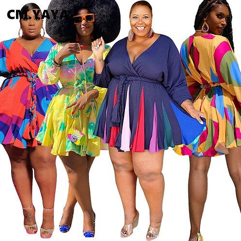 CM.YAYA Autumn Winter Women Long Sleeve Mini Bodycon Dress Print Pleated Sexy