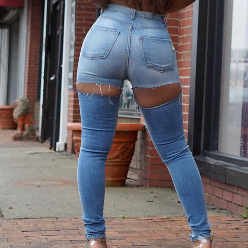 Sexy Street Plus Size High Waist Butt Ripped Jeans for Women Skinny Push Up Jean