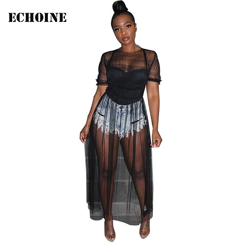 2019 New Sexy Sheer Mesh Maxi Dress Transparent Clubwear Club Outfit Women