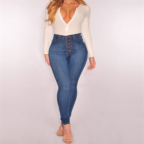 2018 Denim Pants Women Elastic High Waist Skinny Stretch Button Jean Femal