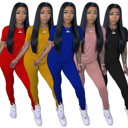 Casual Summer 2 Piece Set Women Solid Workout Outfits Short Sleeve Sporty Tshirt