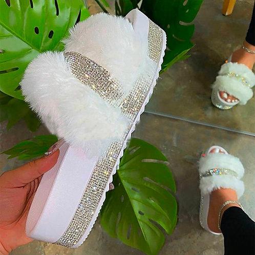 Platform Glitter Slippers Women Wedge Sandals Shoes Fur Slide Slippers Thick