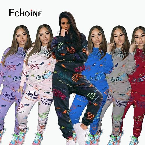 Echoine Fall Winter Women Graffiti Print 2 Two Piece Set Hoodie Top Joggers