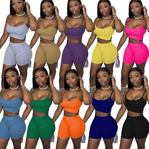 Women 2 Pieces Set Slim Crop Top + Biker Shorts Casual Active Wear Outfits Skin