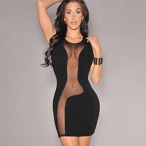 Women Mesh Black Party Club Mini Dresses See Through Sleeveless Party Dress Summ