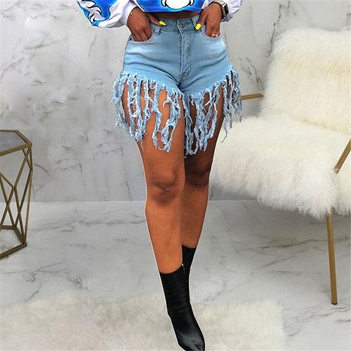 Tassel Sexy Elastic Jeans Shorts Women Summer High Waist Cotton Jean Short
