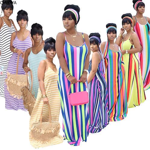 Women Summer Fashion Dress Sleeveless Long Maxi Dress Loose Striped Print Bandag