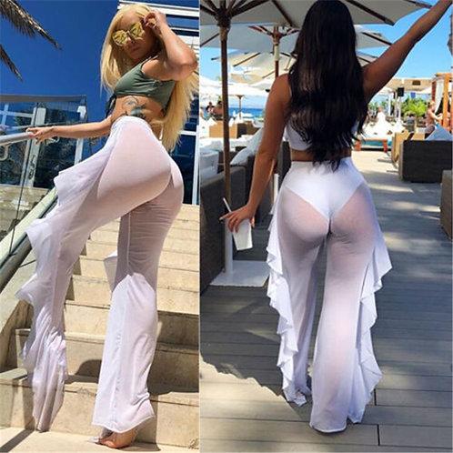 Hirigin Sexy Women Bikini Cover Up Mesh Sheer Plus Size Swimwear Bathing Pants T