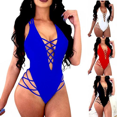 Women One-Piece Swimsuit v Neck Bandage Cross Bikini Push-Up Padded Bra Bathing